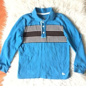 Sky Blue Striped Long Sleeve Polo Shirt 6